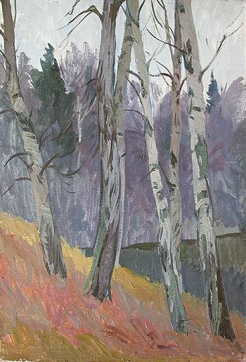 Old Birches. Sketch autumn landscape - oil painting
