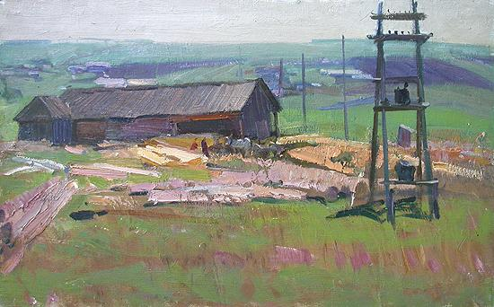 Sketch rural landscape - oil painting
