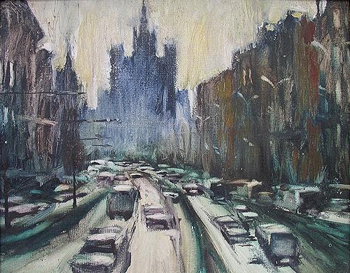 Sadovoe Koltso cityscape - oil painting