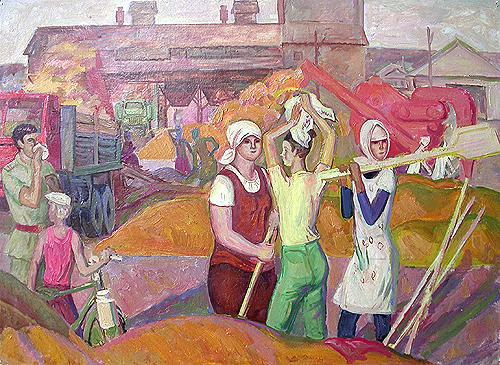 Уборка урожая. Эскиз соцреализм - масло живопись