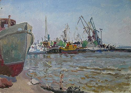 River Port industrial landscape - oil painting