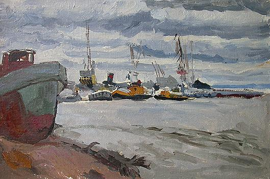River Port. Cloudy Day industrial landscape - oil painting