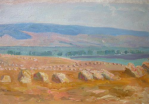 August. Fields summer landscape - oil painting