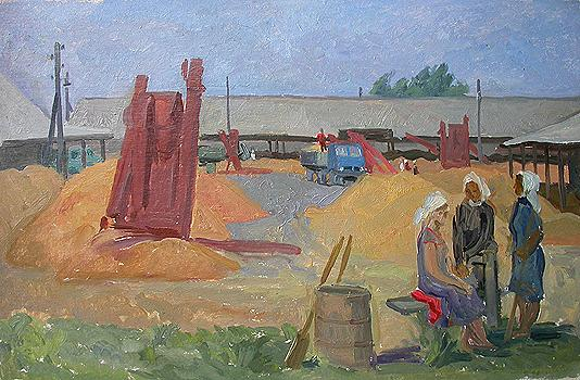 At the Threshing Floor. Corn social realism - oil painting