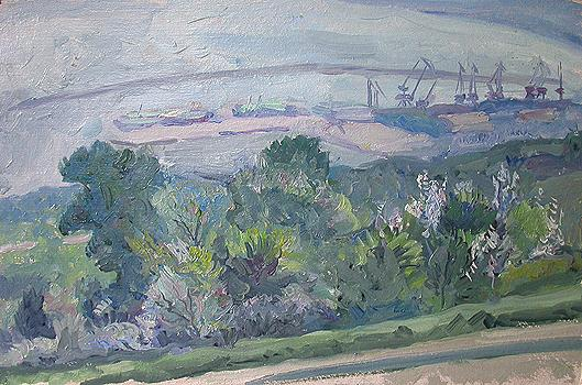 View of the River Port industrial landscape - oil painting