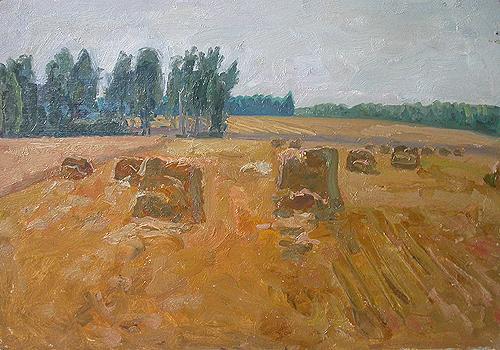 Mowed Field. August summer landscape - oil painting