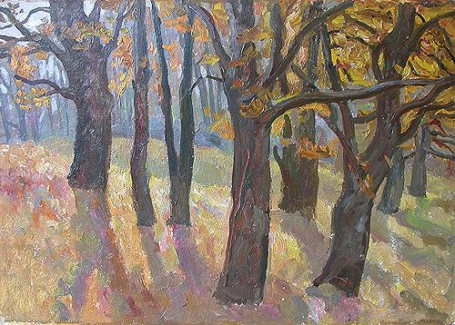 Oaks. Ryazanovo Village autumn landscape - oil painting