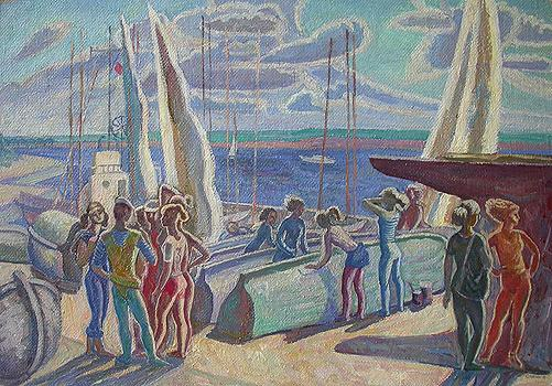Yacht Club on the Volga River genre scene - oil painting