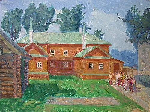 Lenin House architecture - oil painting
