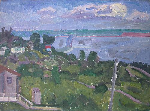 Summer. The Volga River cityscape - oil painting