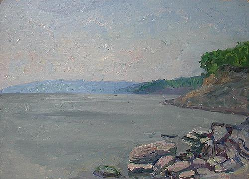 The Volga River. Sketch seascape - oil painting