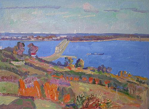 Autumn. The Volga River. Sketch cityscape - oil painting