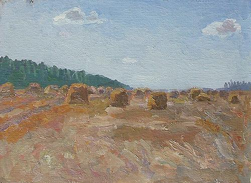Mowed Field. Sketch summer landscape - oil painting