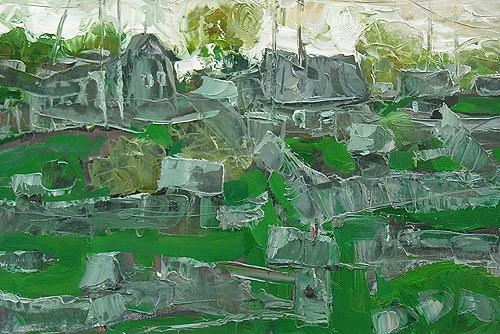 Gray Roofs rural landscape - oil painting