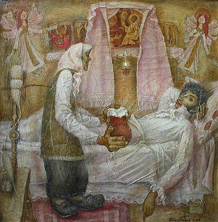 A. S. Pushkin and Nurse story composition - oil painting