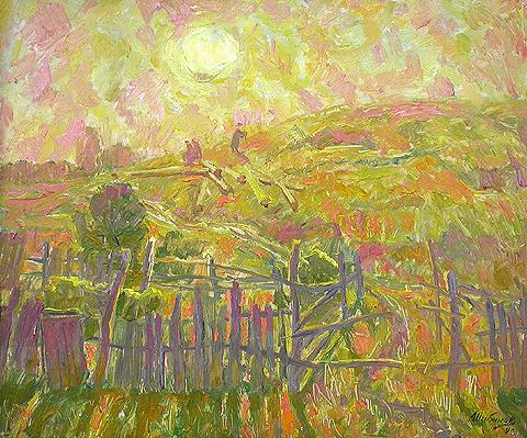 Hot Evening rural landscape - oil painting