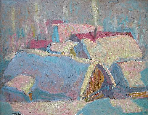 Зимний вечер деревенский пейзаж - масло живопись