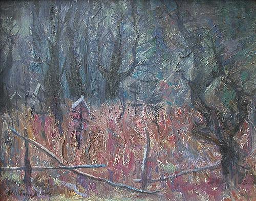 Deserted Cemetery rural landscape - oil painting