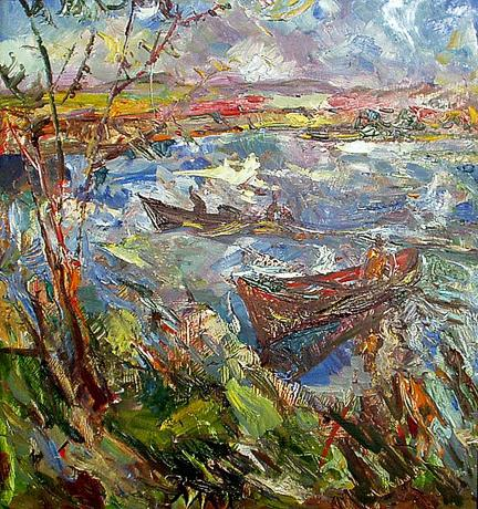 Landscape with Boats abstract landscape - oil painting
