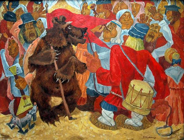 Dancing Bear genre scene - oil painting