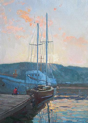 At a Quay seascape - oil painting
