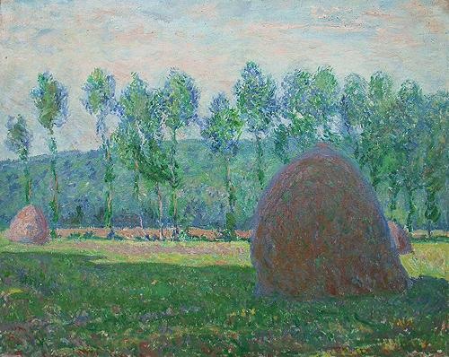 Haystack (copy of the painting by A.Renoir) summer landscape - oil painting