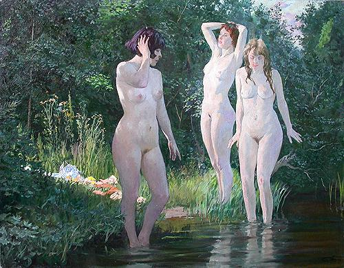 Morning nude art - oil painting