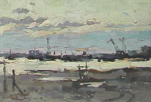 White Nights at the Irtysh River industrial landscape - oil painting