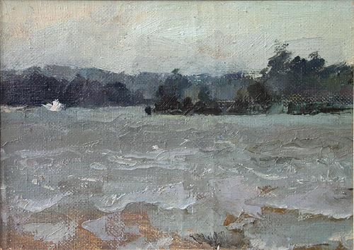 The Staromainksiy Bay #2 summer landscape - oil painting