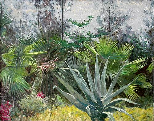 Park vegetation - oil painting