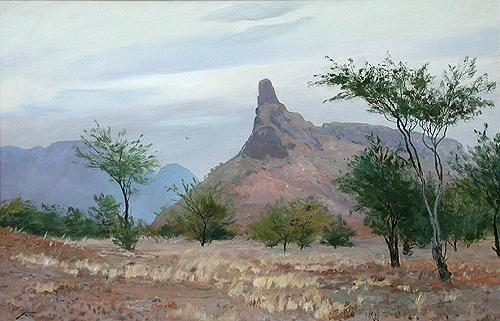 Santiago Island mountain landscape - oil painting