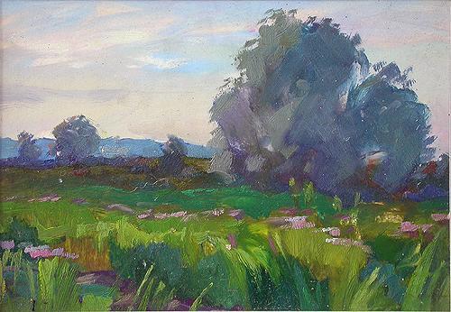 Morning Landscape summer landscape - oil painting
