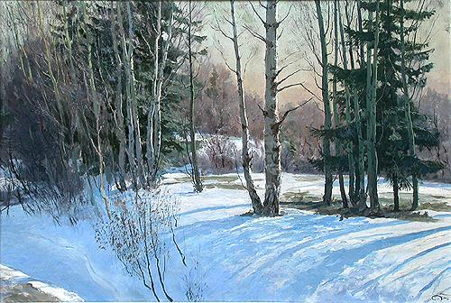 March winter landscape - oil painting