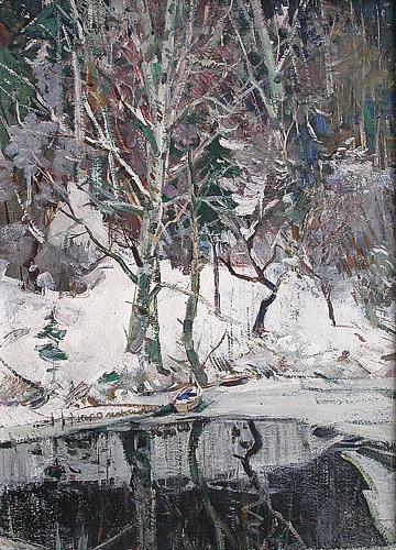 Wood Lake winter landscape - oil painting