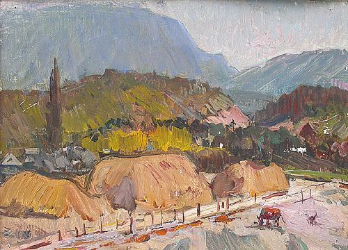 Study rural landscape - oil painting
