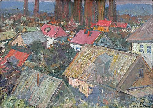 Goryachiy Kluch Village. Evening cityscape - oil painting