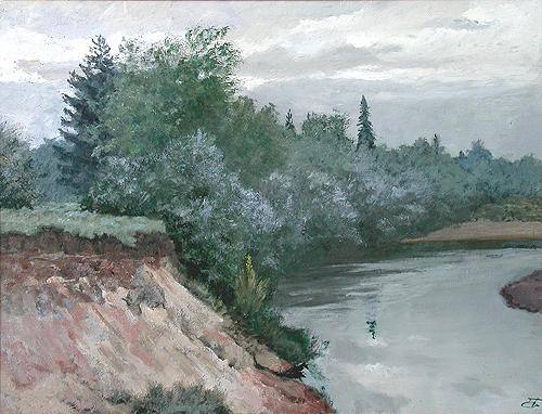 Gray Day summer landscape - oil painting