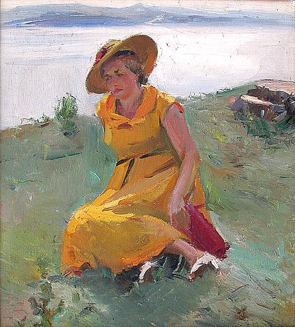 На волжском просторе портрет или фигура - масло живопись