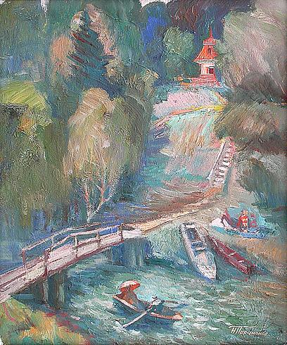 На реке жанровая сцена - масло живопись