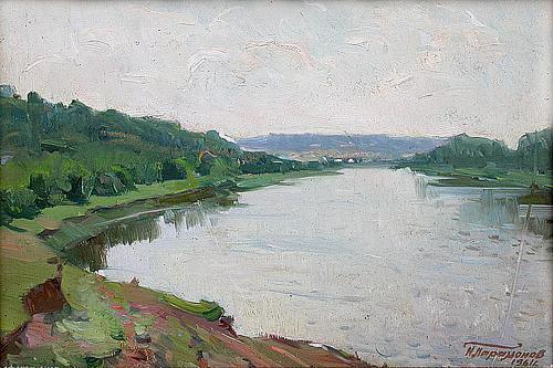 Старая Свияга летний пейзаж - масло живопись