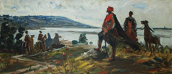 In front of Simbirsk Town story composition - oil painting