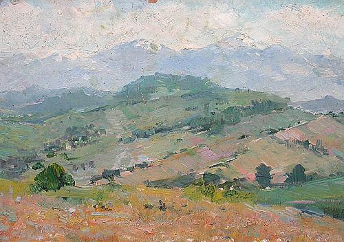 Предгорье горный пейзаж - масло живопись