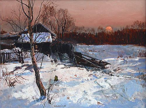 Winter Evening rural landscape - oil painting