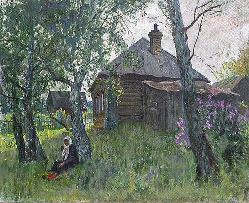 Old House rural landscape - oil painting
