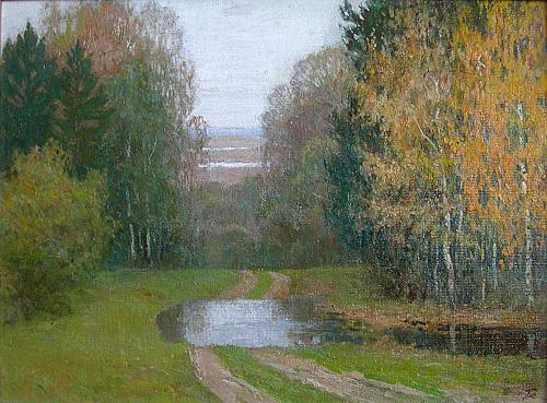 Beginning of Autumn autumn landscape - oil painting