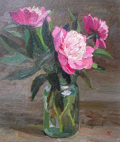 Пионы цветы - масло живопись