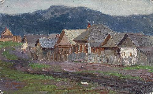 Outskirts of a Town rural landscape - oil painting