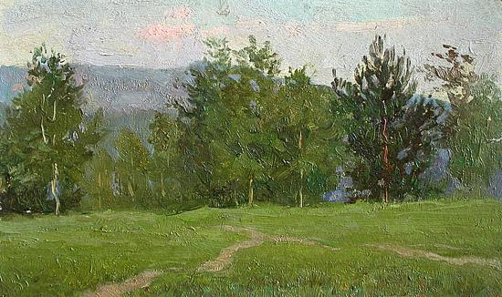 Evening summer landscape - oil painting
