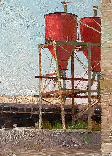 Study industrial landscape - oil painting
