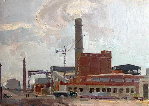 At the Cement Factory industrial landscape - oil painting